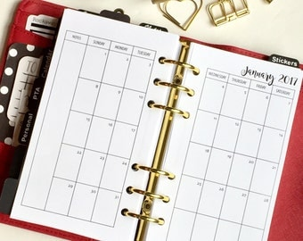 Monthly On 2 Pages Personal Size Planner Inserts - Sunday Start