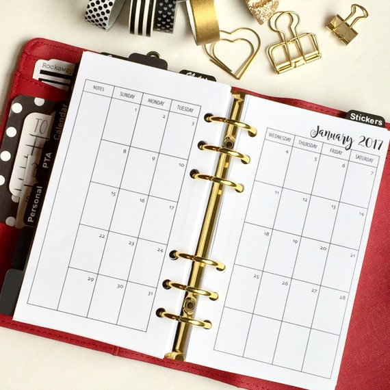 Monthly On 2 Pages Personal Planner Inserts - Sunday Start