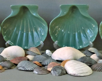 Vintage Hall China Teal Clam Shell Dishes, Set of 4