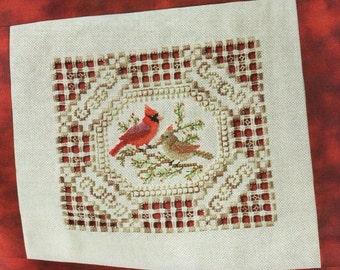 Embroidery Stitch Chart -NESTING PAIR- Cardinal Birds - Needlepoint -Pattern Needlework X-Stitch