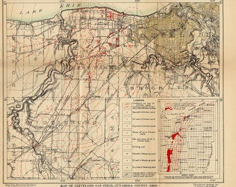 Cleveland Oil & Gas Field Map Cuyahoga County Ohio