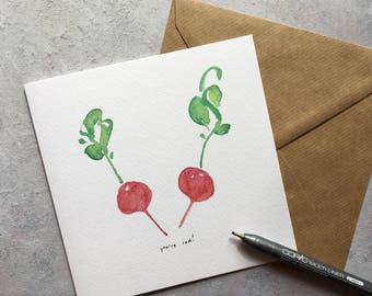 Radishes - best friend, best person, couple, cheer up, cute, quirky, foodie greeting card