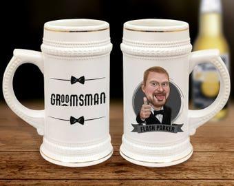 Groomsmen Beer Stein, Personalized Beer Mug, Personalized Beer Glass, Personalized Beer Stein, Groomsmen Beer Mug, Groomsman Beer Glass