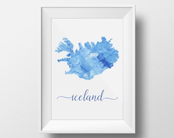 iceland printable poster travel decor gift for travel lover iceland watercolor poster