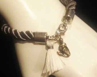 Grey Nautical Cord Mermaid Bracelet Handmade Jewelry Beachwear # 33