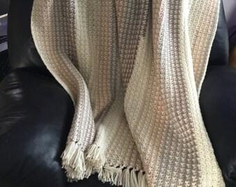 Crochet afghan blanket, Handmade afghan, Wool blend yarn, Free shipping
