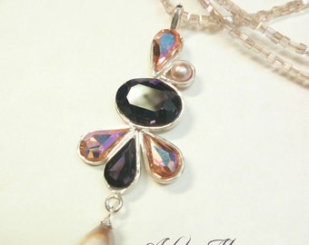 Long necklace with Crystal pendant in Silver 925, Crystal and Pearl