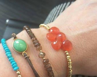 Turquoise carnelian gold bracelet