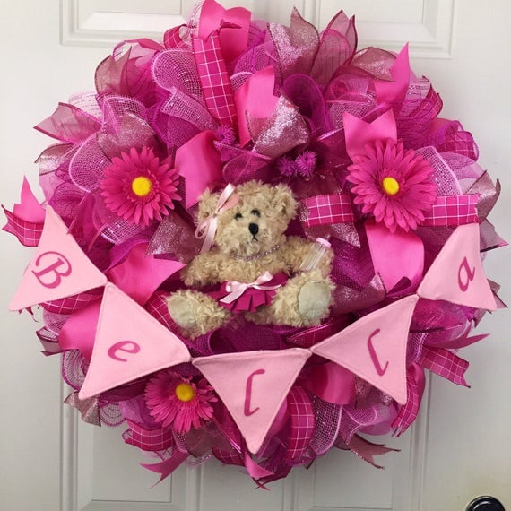 baby shower wreath baby girl wreath made to order deco mesh wreath