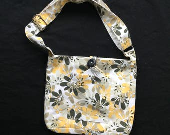 Handmade reversible girl's over the shoulder purse/tote bag with button closure+made in Washington+repurposed fabric+cute gift+unique