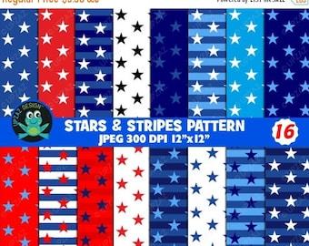 75% OFF SALE Stars and Stripes Patriotic Digital Papers - UZDP927