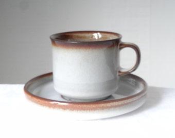 SOHOLM STENTOJ Bornholm Denmark Vintage Grey/Brown Ceramics Cup, Saucer Danish Design, Mid Century Stoneware. Kitchen tableware
