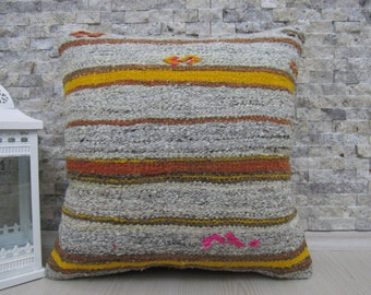 "Organic Wool Made Of Vintage Kilim Rug Pillow Cover Kilim Pillow Embroidery Design Cushion 18"" x 18"" thnic Pillow Boho Pillow Throw Pillow"
