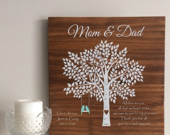 Family Tree Style Sign Painted on Wood | Home Decor |  Housewarming | Anniversary | Wedding Gift | Birthday