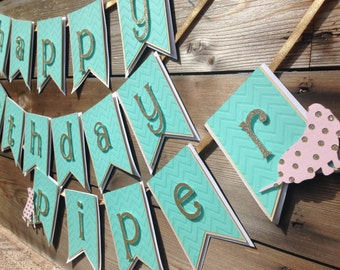 Puppy Party Birthday Banner-Girly Puppy Party-Dog Themed Party-Gold, Pink and Turquoise Birthday Banner-Girly Puppy Birthday Decorations
