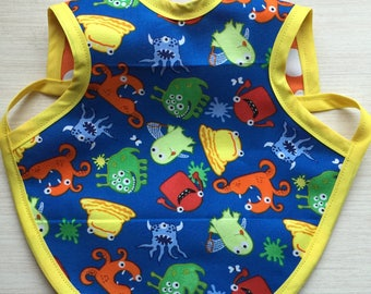 Little Monster - Polka Dot - Bib - Bapron - Baby - Toddler - Reversible - Waterproof