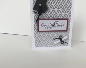 Graduation card . Handmade graduation card . Silver and maroon graduation card.