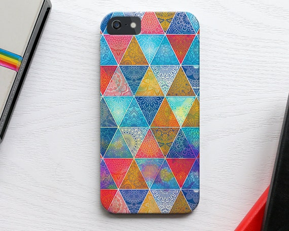 Geometric iPhone 6s Case, Slim Triangles iPhone 7 Case, Abstract Galaxy s6 s7 Case, Colorful iPhone SE Case, Pattern iPhone 5s 6s Case