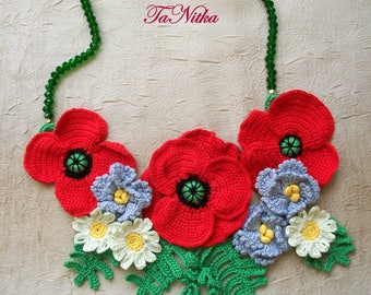 Necklace Crocheted Poppies Beads Flowers Bib Textile Jewelry Red Blossoms