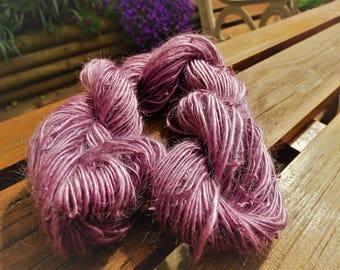 SALE Handspun yarn - Unknown fibre possibly alpaca - 52 grams - lavender purple/mauve