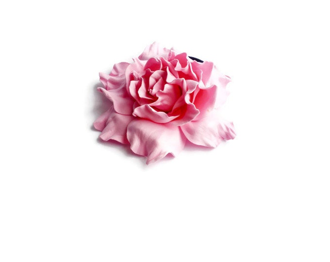 Rose quartz Scrunchy Flower cherry blossom pink Flower barrette Hair Ties Flower Pin Prom Wedding Mom Event Flowers Big rose handmade brooch