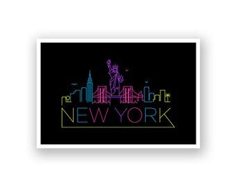 New York Skyline Line Art Poster
