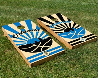 Orlando Basketball Cornhole Board Set with Bean Bags