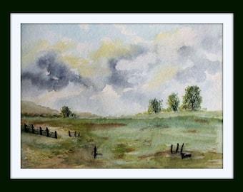 Watercolor - unique - summer landscape - size 24x32 cm