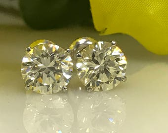 4.00 TCW Canary Round Brilliant Simulated Diamond Stud Earrings w/Screw Back Posts in 14K White Gold #5031