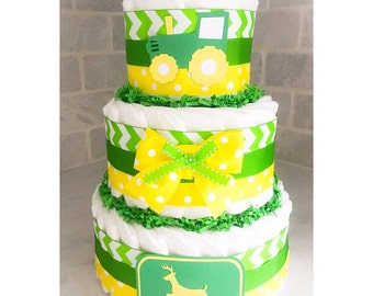 Diaper Cake - Diaper Cake For Boys - John Deere Diaper Cake - Tractor Diaper Cake - Farm Diaper Cake