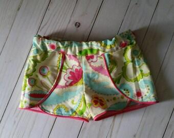 Floral girls shorts- kumari gardens - boutique shorts -floral-pink
