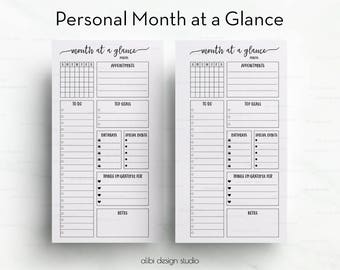 Month at a Glance, Personal Planner, Monthly Planner, Personal Inserts, Monthly Calendar, Undated Planner, Filofax Personal , kikkik Medium