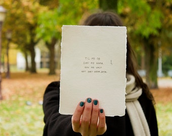no very | poem on cotton paper