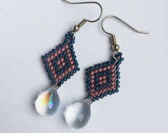 Denim and rose pink beaded earrings with clear teardrop