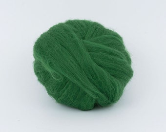 Dark Green B139, 1.78oz (50gr) 26mic merino tops felting wool, for needle felting, wet felting, spinning.