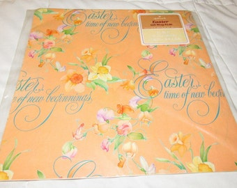 Easter gift wrap etsy vintage hallmark easter gift wrap wrapping paper 2 sheets peach floral negle Image collections