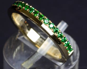 Half Memoryring with Ruby/CZ 6a/Synth. Tourmaline or CZ (green)
