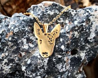 Golden Bull Terrier Necklace, Bull Terrier Pendant, Bull Terrier Necklace, Bull Terrier Gift, Dog Lover Gift, Dog Ornament, Dog Pendants