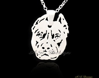 Sterling Silver Pitbull Necklace, Pitbull Necklace, Pitbull Pendant, Silver Pitbull, Pitbull Jewelry, Pitbull Dog, Dog Pendant, Pitbull Dog