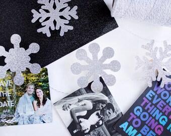 Snowflake Christmas Card Holder // Christmas Garland // Snowflake Decor // Winter Decorations // Christmas Party Decor // Holiday Garland