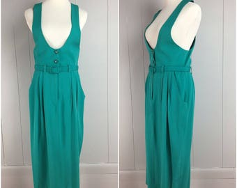Vintage Womens Late 1980s / 1990s Belted Teal Jumper Dress | Size S