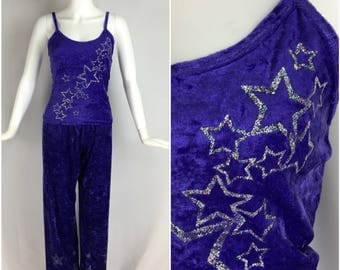 Vintage Womens 1990s Purple Crushed Velvet 2 Piece Pajama Set with Glitter Stars | Size S