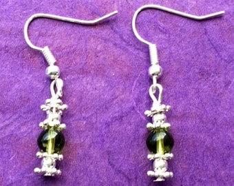 Green glass beaded silver plated earrings