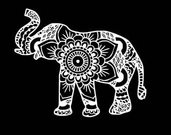Elephant mandala decal for cars, laptops, computers, boats, and many more!!