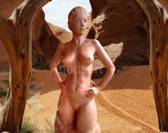 Stone Goddess, Divine Feminine, greeting card, nude woman, art print, spiritual art, wicca