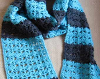Handmade, Crocheted Black and Teal Scarf