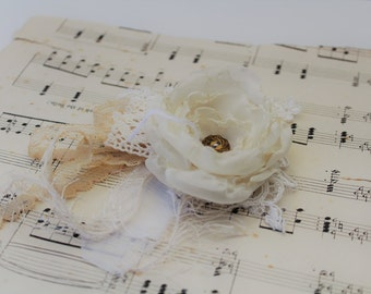 Fabric Flower Wrist Corsage, Vintage Wedding, Ball, Creams and Old gold, Special occasion, silk flowers