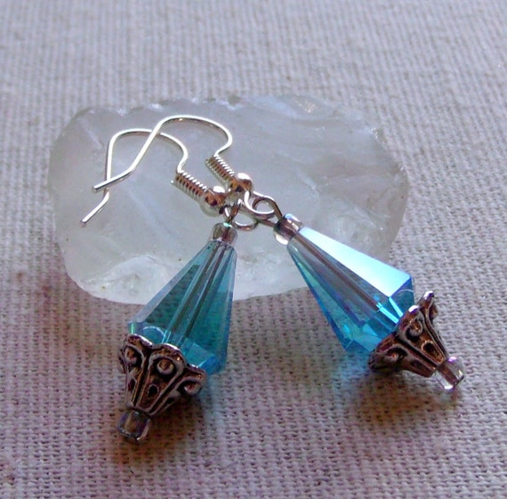 Teardrop turquoise crystal earrings, short light weight jewelry, teen girl gift, antique silver  floral cap, iridescent beads, romantic gift