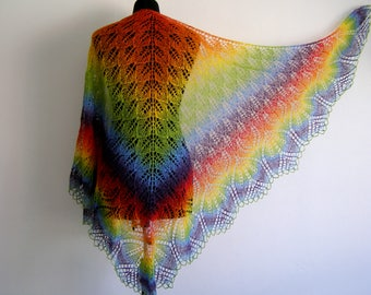 wool shawl, knitted rainbow shawl, lace shawl, Christmas gift, Rainbow shawl, estonian lace, hand knit shawl, warm shawl, gift for women