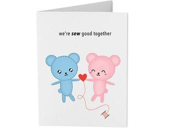 we're sew good together - handmade punny card - greeting card